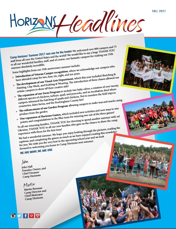 Camp Horizons Newlsetter Fall 2017