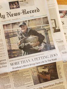 Bobby Morris leads Camp Horizons' Farm Program on the cover of Harrisonburg's Daily News Record