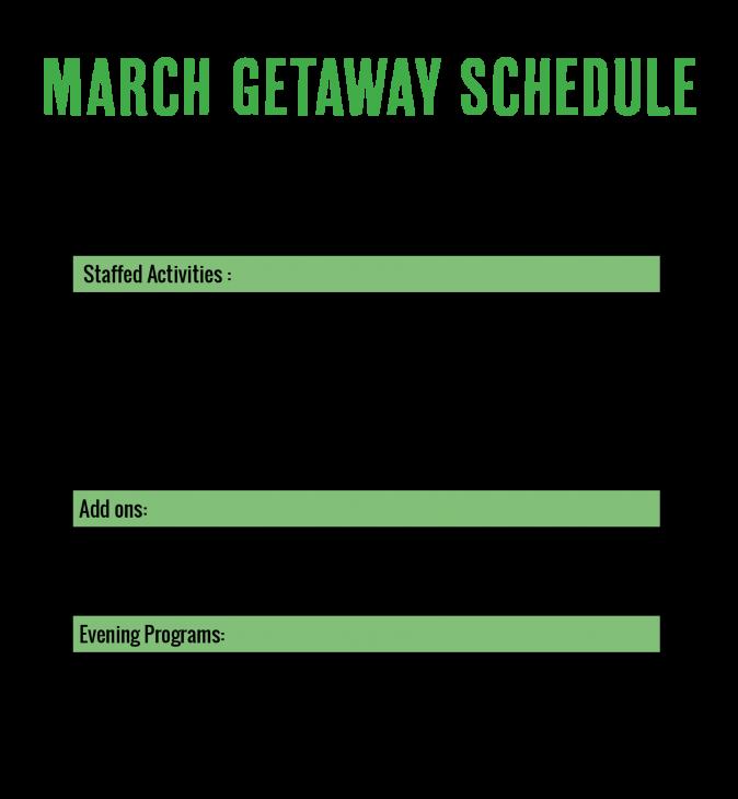 camp horizons march 2021 getaway schedule