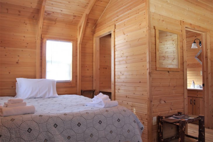 interior of log cabin